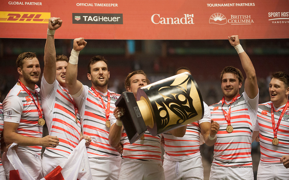 England Captain Tom Mitchell lifts the cup after England Win the 2017 Canada Sevens,  Round Six of the World Rugby HSBC Sevens Series in Vancouver, British Columbia, Sunday March 12, 2017. <br /> <br /> Jack Megaw.<br /> <br /> www.jackmegaw.com<br /> <br /> jack@jackmegaw.com<br /> @jackmegawphoto<br /> [US] +1 610.764.3094<br /> [UK] +44 07481 764811