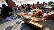 Sylt, Germany. Rantum. Sansibar.<br /> Sansibar special Burger. Burger vom Livar Klosterschwein (Pulled & Smoked) mit Meerettich.