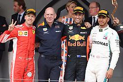 Alberto di Monaco and Charlene Wittstock celebrates Daniel Ricciardo. 27 May 2018 Pictured: Sebastian Vettel, Daniel Ricciardo,Ewis Hamilton. Photo credit: MEGA TheMegaAgency.com +1 888 505 6342