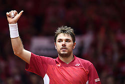 21.11.2014, Stade Pierre Mauroy, Lille, FRA, Davis Cup Finale, Frankreich vs Schweiz, im Bild Stanislas Wawrinka (SUI) jubelt // during the Davis Cup Final between France and Switzerland at the Stade Pierre Mauroy in Lille, France on 2014/11/21. EXPA Pictures © 2014, PhotoCredit: EXPA/ Freshfocus/ Valeriano Di Domenico<br /> <br /> *****ATTENTION - for AUT, SLO, CRO, SRB, BIH, MAZ only*****
