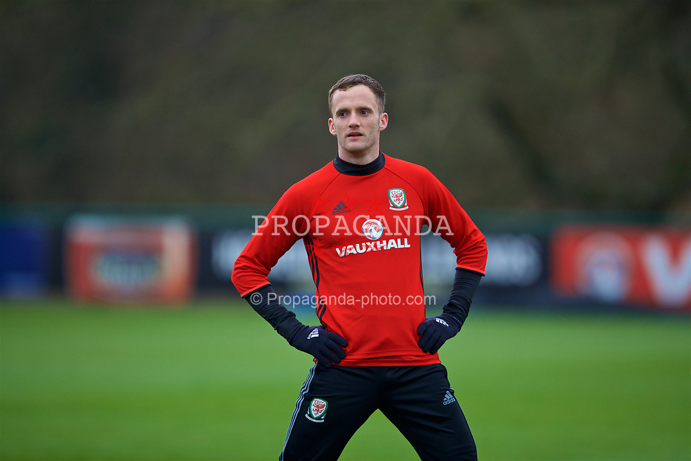 CARDIFF, WALES - Thursday, March 23, 2017: Wales' Andy King during a training session at the Vale Resort ahead of the 2018 FIFA World Cup Qualifying Group D match against Republic of Ireland. (Pic by David Rawcliffe/Propaganda)