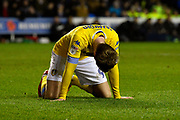 Patrick Bamford (9) of Leeds United on his knees after missing a chance to score during the EFL Sky Bet Championship match between Reading and Leeds United at the Madejski Stadium, Reading, England on 12 March 2019.
