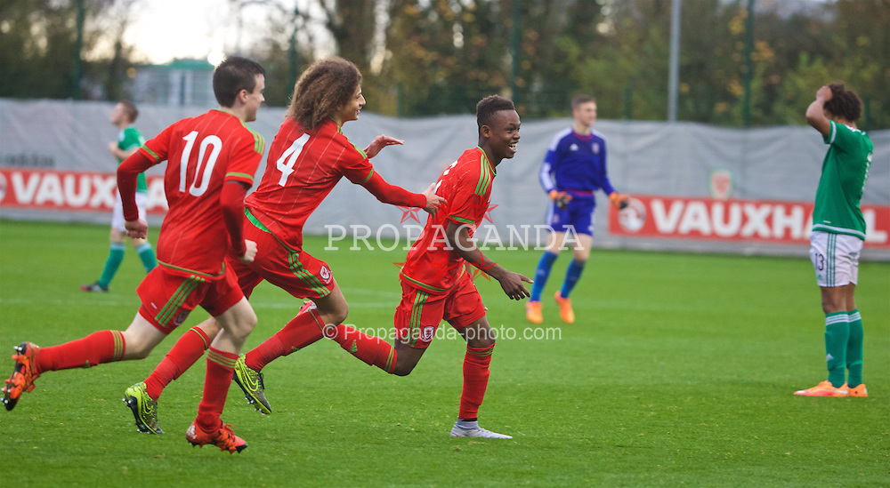 NEWPORT, WALES - Thursday, November 5, 2015: Wales' Rabbi Matonda celebrates scoring the second goal against Northern Ireland during the Under-16's Victory Shield International match at Dragon Park. (Pic by David Rawcliffe/Propaganda)