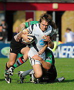 Twickenham, GREAT BRITAIN, Bristols, Adrian JARVIS is dragged down by the Quins defence, during the Guinness Premiership match,  Harlequins vs Bristol Rugby, at The Stoop Stadium, Surrey on Sat 13.09.2008. [Photo, Peter Spurrier/Intersport-images]