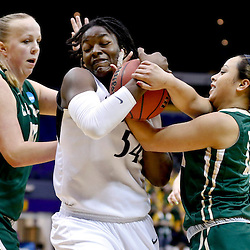 Mar 24, 2013; Baton Rouge, LA, USA; Penn State Lady Lions forward/center Nikki Greene (54) and Cal Poly Mustangs guard Kristen Ale (11) fight for possession of the ball in the second half during the first round of the 2013 NCAA womens basketball tournament at the Pete Maravich Assembly Center. Penn State defeated Cal Poly 85-55. Mandatory Credit: Derick E. Hingle-USA TODAY Sports