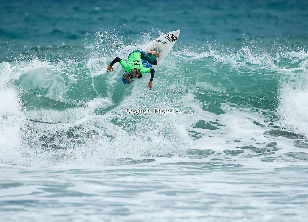 Daniel Farr of Taranaki competing on the final day of the 2015 Billabong National Surfing Championships  driven by Subaru completed yesterday (Saturday 17th January). The National Surfing Championships run through until the 17th January at Piha Beach, Auckland and include 23 divisions for in excess of 260 entrants. Copyright photo: PhotoCPL