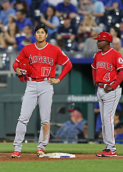 April 12, 2018 - Kansas City, MO, U.S. - KANSAS Kansas City, MO - APRIL 12: Los Angeles Angels designated hitter Shohei Ohtani (17) at first base in the ninth inning of an MLB game between the Los Angeles Angels of Anaheim and Kansas City Royals on April 12, 2018 at Kauffman Stadium in Kansas City, MO. The Angels won 7-1. (Photo by Scott Winters/Icon Sportswire) (Credit Image: © Scott Winters/Icon SMI via ZUMA Press)