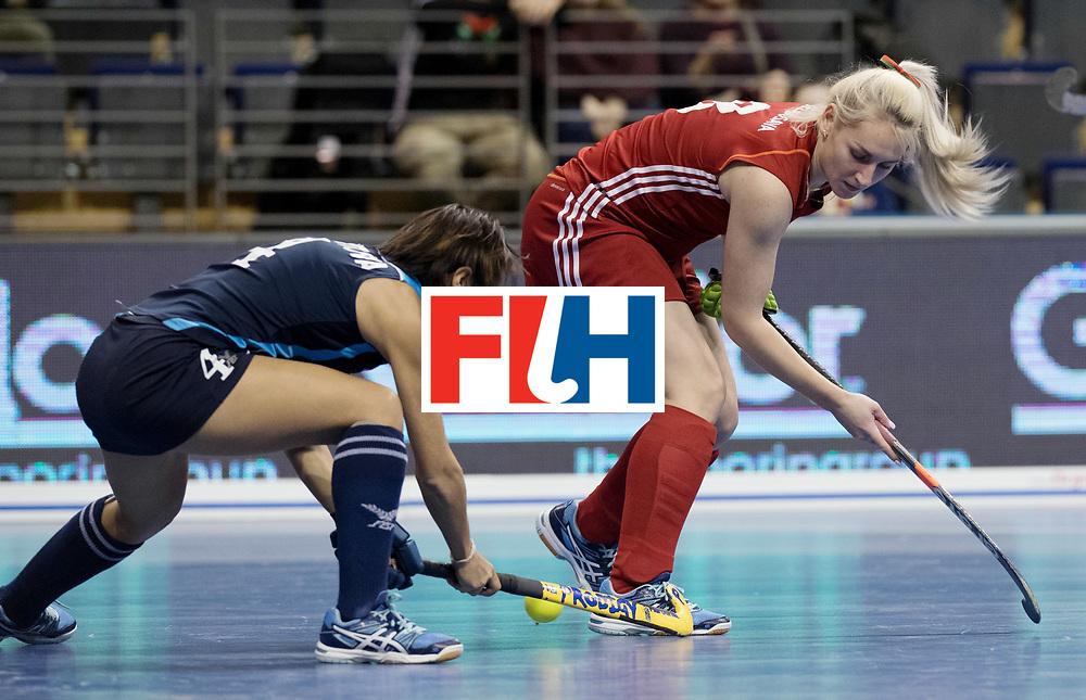 BERLIN - Indoor Hockey World Cup<br /> Women: Kazakhstan - Belarus<br /> foto: BELAVUSAVA Darya.<br /> WORLDSPORTPICS COPYRIGHT FRANK UIJLENBROEK