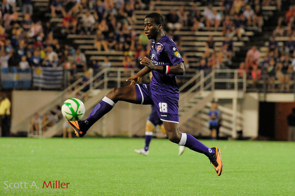 Orlando City Lions midfielder Kevin Molino (18) in action during a USL Pro soccer game against the Seattle Sounders at the Citrus Bowl on Aug. 11, 2013 in Orlando, Florida. <br /> <br /> &copy;2013 Scott A. Miller