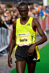 Fifth placed Peter Neibei Kwalia of Kenya at the finish line of the 14th Marathon of Ljubljana, on October 25, 2009, in Ljubljana, Slovenia.  (Photo by Vid Ponikvar / Sportida)