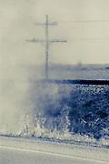 Palm Sunday roadside fire with powerlines and railroad tracks near Crawfordsville, Arkansas  (1988)