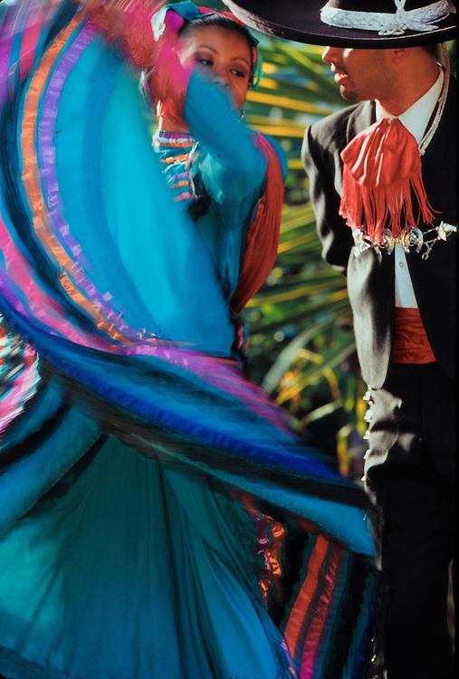 United States, California, San Diego, Hispanic dancers at Mexican-American cultural festival