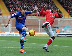 Bristol City's Kieran Agard closes down Rochdale's Ashley Eastham - Photo mandatory by-line: Dougie Allward/JMP - Mobile: 07966 386802 - 28/02/2015 - SPORT - football - Bristol - Ashton Gate - Bristol City v Rochdale AFC - Sky Bet League One