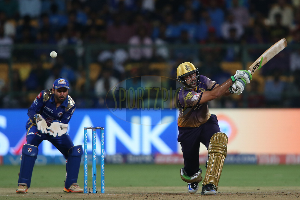 Ishank Jaggi of the Kolkata Knight Riders safely edges a delivery towards the boundary during the 2nd qualifier match of the Vivo 2017 Indian Premier League between the Mumbai Indians and the Kolkata Knight Riders held at the M.Chinnaswamy Stadium in Bangalore, India on the 19th May 2017<br /> <br /> Photo by Shaun Roy - Sportzpics - IPL