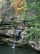 A Small But Bwautiful Waterfall And Stone Foot Bridge At Old Man's Cave In The Hocking Hills Region Of Central Ohio, USA : Low Res File - 8X10 To 11X14 Or Smaller, Larger If Viewed From A Distance