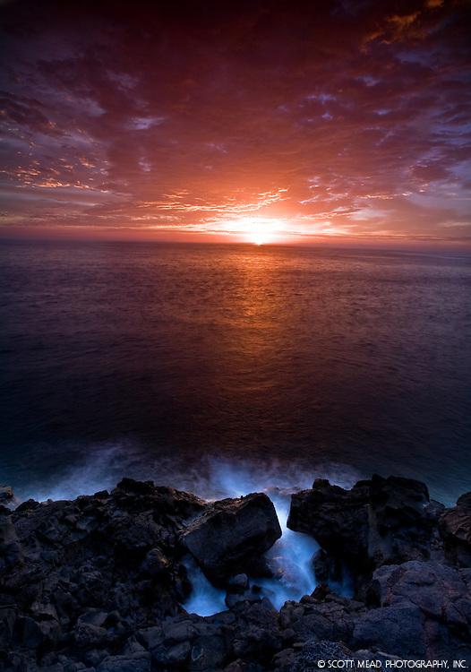 Sunset at Keauhou beach, Kona, Big Island,Hawaii