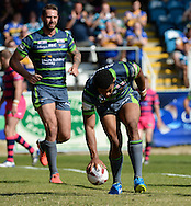 Kallum Watkins of Leeds Rhinos touches down to score during the Super 8s Qualifiers match at The Big Fellas Stadium, Post Office Road, Pontefract.<br /> Picture by Richard Land/Focus Images Ltd +44 7713 507003<br /> 06/08/2016