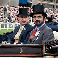 ASCOT, ENGLAND - JUNE 18: Sheik Mohammed bin Rashid Al Maktoum and  Prince Andrew, Duke of York  arrive for Ladies Day at Ascot Racecourse on June 18, 2009 in Ascot, England. (Photo by Marco Secchi/Getty Images)