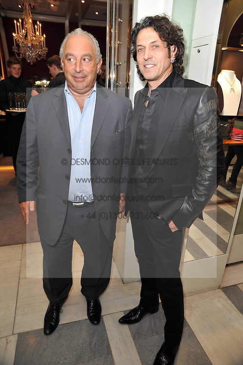 Left to right, SIR PHILIP GREEN and STEPHEN WEBSTER at a party to launch the Georgina Chapman collection for Garrard held at Garrard, Albermarle Street, London on 4th November 2009.
