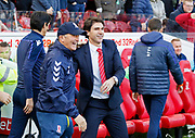 Middlesbrough Manager Tony Pulis and Nottingham Forest manager Aitor Karanka  during the EFL Sky Bet Championship match between Middlesbrough and Nottingham Forest at the Riverside Stadium, Middlesbrough, England on 6 October 2018.