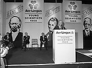 08/01/1988.01/08/1988.8th January 1988 .The Aer Lingus Young Scientist of the Year Award at the RDS, Dublin ..Picture shows the Taoiseach Charles J. Haughey T.D. speaking at the opening of the exhibition with David Kennedy Chief Executive (left) and Niall Weldon, Chairman of the Judges.