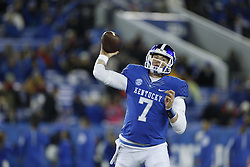 Kentucky quarterback Drew Barker throws a pass in the second quarter.<br /> <br /> The University of Kentucky hosted Charlotte, Saturday, Nov. 21, 2015 at Commonwealth Stadium in Lexington.