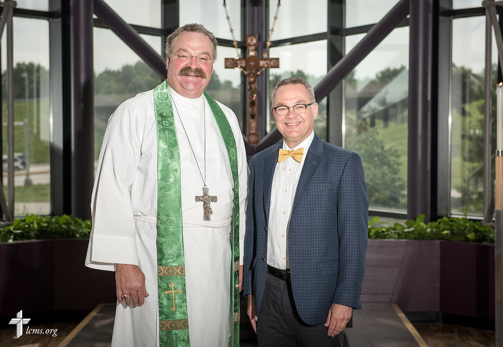 Portrait of the Rev. Dr. Matthew C. Harrison, president of The Lutheran Church–Missouri Synod, and Ross Stroh, executive director of LCMS Accounting and Financial Services, in the International Center chapel of The Lutheran Church–Missouri Synod on Wednesday, Sept. 3, 2014, in Kirkwood, Mo. LCMS Communications/Erik M. Lunsford