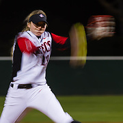 15 February 2018: The San Diego State softball team hosts #25 Kentucky to open up the 28th annual Campbell/Cartier Classic. San Diego State relief pitcher Alex Formby (19) seen here pitching in the 5th inning. The Aztecs lost to the Wildcats 5-0.<br /> More game action at www.sdsuaztecphotos.com