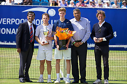 LIVERPOOL, ENGLAND - Saturday, June 21, 2014: 2014 Men's Champion Michael Russell (USA) and runner-up Andrey Rublev (RUS) with Tournament Director Anders Borg and Liverpool Hope University Vice-Chancellor Gerald Pillay during Day Three of the Liverpool Hope University International Tennis Tournament at Liverpool Cricket Club. (Pic by David Rawcliffe/Propaganda)