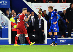 Alberto Moreno of Liverpool points an accusing finger at Jamie Vardy of Leicester City - Mandatory by-line: Paul Roberts/JMP - 23/09/2017 - FOOTBALL - King Power Stadium - Leicester, England - Leicester City v Liverpool - Premier League