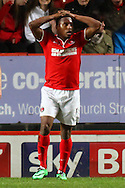 Callum Harriott of Charlton Athletic holds his hands on his head after missing a good chance to open the scoring during the Sky Bet Championship match at The Valley, London<br /> Picture by David Horn/Focus Images Ltd +44 7545 970036<br /> 15/04/2014
