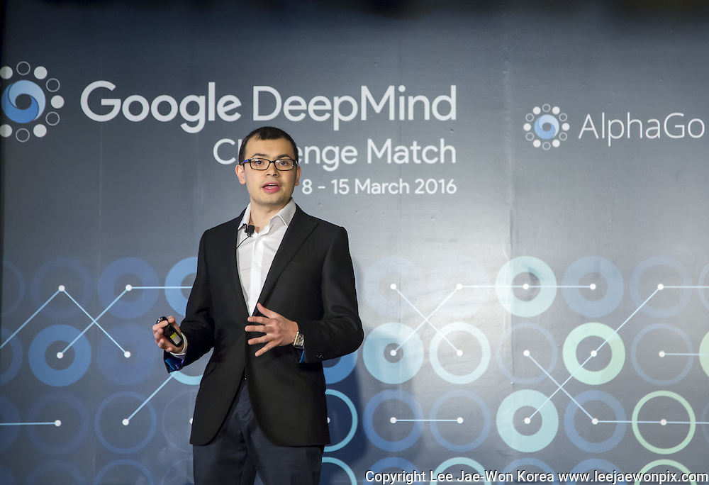Demis Hassabis, CEO of the AlphaGo developer Google DeepMind, speaks during a pre-match press conference of human-computer showdown in Seoul, South Korea, March 8, 2016. The historic human-computer showdown in the ancient board game begins on Wednesday in Seoul, with the winner's prize of US$1 million at stake. The matches will be also held at the same place on Thursday, Saturday and Sunday and will end next Tuesday. The prize will be donated to UNICEF and other charities, if AlphaGo wins, local media reported. Photo by Lee Jae-Won (SOUTH KOREA)  www.leejaewonpix.com