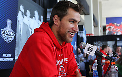 May 29; Newark, NJ, USA; New Jersey Devils right wing Dainius Zubrus (8) during Stanley Cup Finals media practice day at the Prudential Center.
