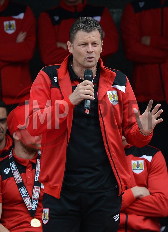 Bristol City manager, Steve Cotterill addresses the fans at the Lloyds  Amphitheater - Photo mandatory by-line: Dougie Allward/JMP - Mobile: 07966 386802 - 04/05/2015 - SPORT - Football - Bristol -  - Bristol City Celebration Tour