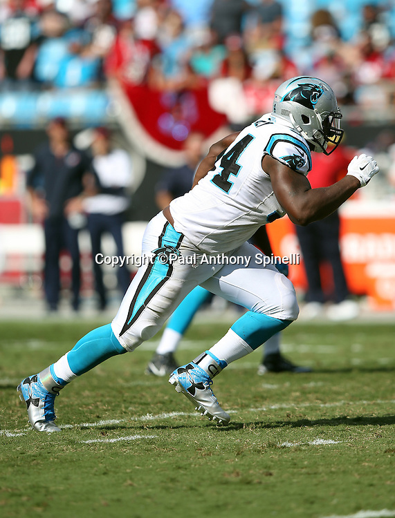 Carolina Panthers defensive end Kony Ealy (94) chases the action during the 2015 NFL week 2 regular season football game against the Houston Texans on Sunday, Sept. 20, 2015 in Charlotte, N.C. The Panthers won the game 24-17. (©Paul Anthony Spinelli)