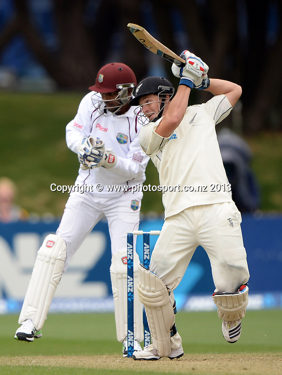 BJ Watling batting on Day 2 of the 2nd cricket test match of the ANZ Test Series. New Zealand Black Caps v West Indies at The Basin Reserve in Wellington. Thursday 12 December 2013. Mandatory Photo Credit: Andrew Cornaga www.Photosport.co.nz