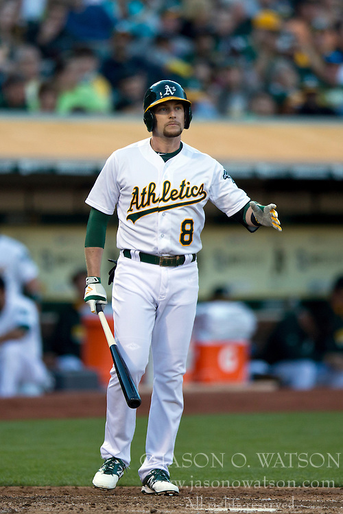 OAKLAND, CA - JULY 05:  Jed Lowrie #8 of the Oakland Athletics at bat against the Toronto Blue Jays during the second inning at O.co Coliseum on July 5, 2014 in Oakland, California. The Oakland Athletics defeated the Toronto Blue Jays 5-1.  (Photo by Jason O. Watson/Getty Images) *** Local Caption *** Jed Lowrie