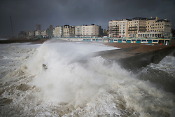© Licensed to London News Pictures. 08/02/2016. Brighton, UK. Storm Imogen hits as waves crash onto the sea front at Brighton. Photo credit: Peter Macdiarmid/LNP