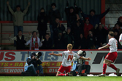STEVENAGE, ENGLAND - Saturday, December 17, 2011: Stevenage's captain Mark Roberts celebrates scoring the second goal against Tranmere Rovers during the Football League One match at Broadhall Way. (Pic by David Rawcliffe/Propaganda)