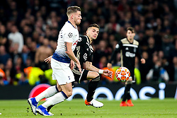 Dusan Tadic of Ajax takes on Toby Alderweireld of Tottenham Hotspur  - Mandatory by-line: Robbie Stephenson/JMP - 30/04/2019 - FOOTBALL - Tottenham Hotspur Stadium - London, England - Tottenham Hotspur v Ajax - UEFA Champions League Semi-Final 1st Leg