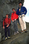 the north face team members jared ogden, alex lowe and mark synnott at mickey's beach in marin county, california.<br /> <br /> this photo was taken shortly before their departure to pakistan to climb the great trango tower.
