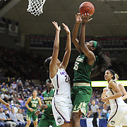 STORRS, CONNECTICUT- NOVEMBER 17: Khadijiah Cave #55 of the Baylor Bears rebounds over Napheesa Collier #24 of the UConn Huskies during the UConn Huskies Vs Baylor Bears NCAA Women's Basketball game at Gampel Pavilion, on November 17th, 2016 in Storrs, Connecticut. (Photo by Tim Clayton/Corbis via Getty Images)