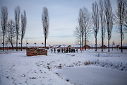 """aGroup of visitors beside the ruins of one of the crematoriums of Auschwitz II/Birkenau where lies a pond with 4 gravestones with the inscription in 4 different languages: """"To the memory of the men, women, and children who fell victim to the Nazi genocide. In this pond lie their ashes.  May their souls rest in peace.""""."""