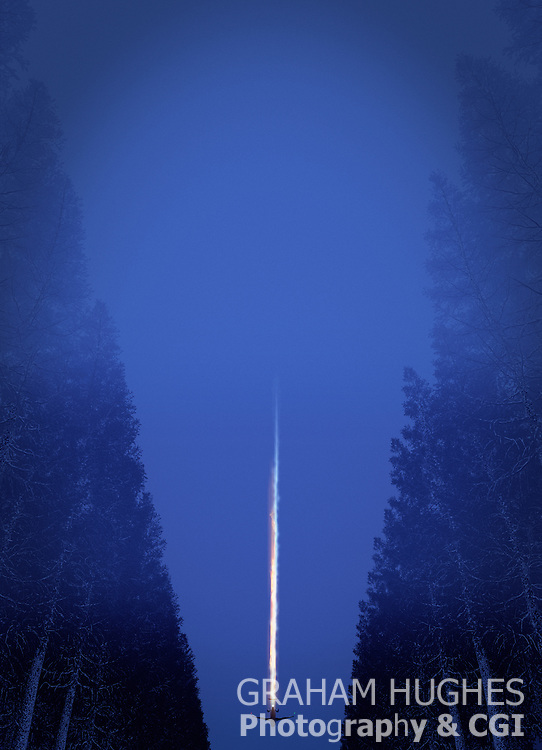 Airplane Crashing, Coming Down Over Dense Forest. Flames from tail. Nigh time.