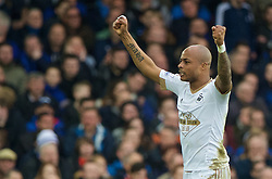 LIVERPOOL, ENGLAND - Sunday, January 24, 2016: Swansea City's Andre Ayew celebrates scoring the second goal against Everton during the Premier League match at Goodison Park. (Pic by David Rawcliffe/Propaganda)