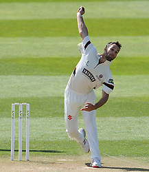 Somerset's Lewis Gregory. - Photo mandatory by-line: Harry Trump/JMP - Mobile: 07966 386802 - 27/04/15 - SPORT - CRICKET - LVCC Division One - County Championship - Somerset v Middlesex - Day 2 - The County Ground, Taunton, England.