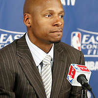 03 June 2012: Boston Celtics shooting guard Ray Allen (20) answers to journalists during the press conference after the Boston Celtics 93-91 overtime victory over the Miami Heat, in Game 4 of the Eastern Conference Finals playoff series, at the TD Banknorth Garden, Boston, Massachusetts, USA.