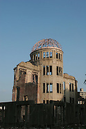 The Atomic Dome Memorial in Hiroshima, Japan, on Friday Aug. 5th 2005. The Dome is a memorial to the atomic bombing of the city of Hiroshima, on 6th August 1945, during World War 2. The bomb was the first atomic bomb to be used in warfare, and was dropped by the US military.