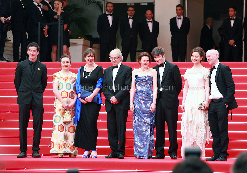 Robbie Ryan, guest, Rebecca O'Brien, Ken Loach, Simone Kirby, Aisling Franciosi, Paul Laverty at Jimmy's Hall gala screening red carpet at the 67th Cannes Film Festival France. Thursday 22nd May 2014 in Cannes Film Festival, France.