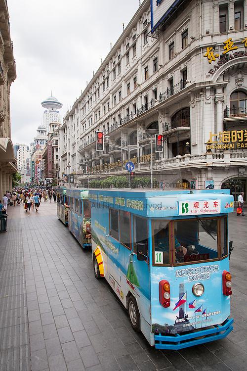 Shopping on Nanjing East Road in Shanghai, China.